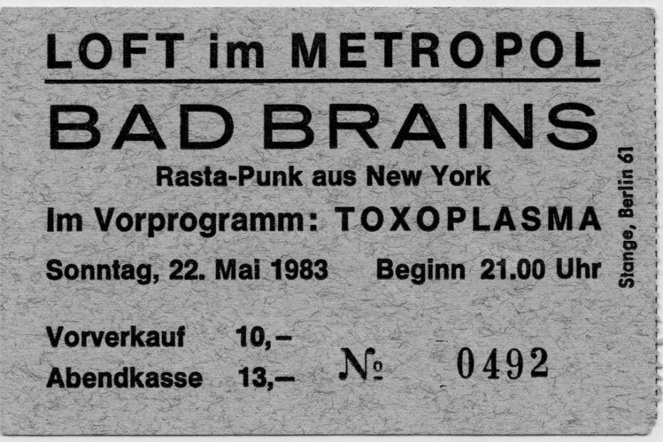 Bad Brains concert ticket 1983
